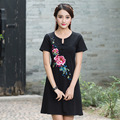 Summer Vintage Embroidery Flowers Short Sleeve Cotton Plus Size Fashion Women New Casual And Loose Round Neck Dress