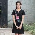 Verão bordados de flores do vintage de manga curta de algodão plus size mulheres moda de nova casual e solto em torno do pescoço dress