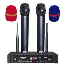 Freeboss FB U10 double voie karaoké réunion église école chanter 2 mains en métal UHF Microphone sans fil