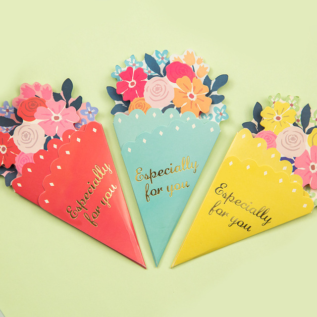 Pcs Flowers Greeting Card With Envelope Kawaii Holiday Birthday