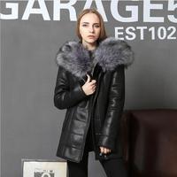 Женская кожаная куртка зимняя длинная секция большой меховой воротник теплое пальто женская уличная мода Slim Fit плюс размер искусственная к