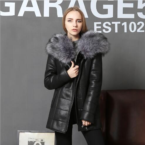 Women   Leather   Jacket Winter Long Section Big Fur Collar Warm Coat Female Outdoor Fashion Slim Fit Plus Size Faux   Leather   Jacket