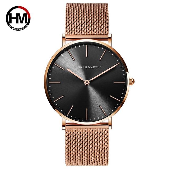 Lovers' Couple Watch Luxury Brand Rose Gold Steel Mesh Male Female Wrist Watch Q