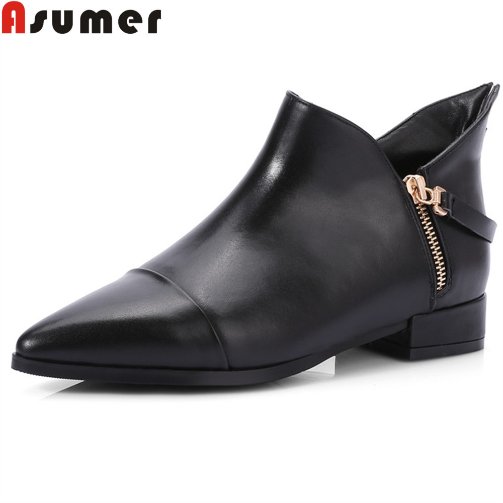 Asumer new arrive women boots black gray sexy pointed toe genuine leather boots zipper low heel cow leather ankle boots asumer black white fashion new women boots pointed toe genuine leather boots zipper cow leather ankle boots low heel shoes