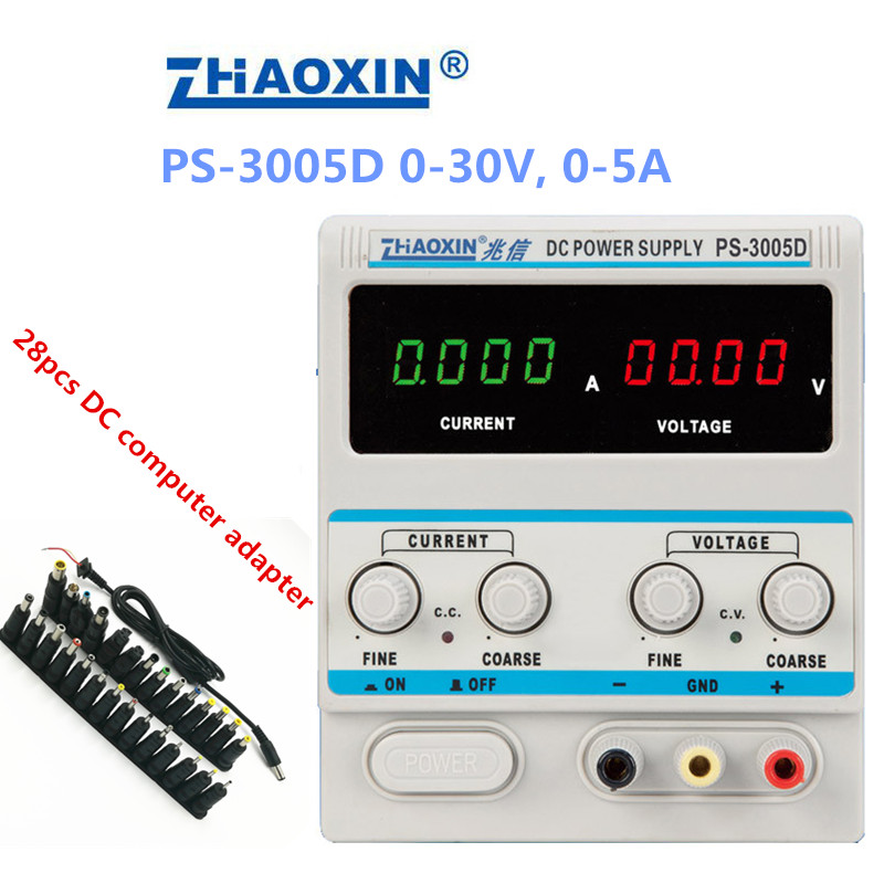PS-3005D Variable 30V 5A DC Power Supply Lab Grade 1mA Adjustable 4 digits display With 28pcs DC computer adapter