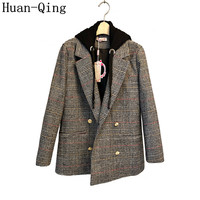 High Quality Hooded Suit Collar Plaid Blazers Autumn Women Double breasted Long Blazers Long Sleeve Office Blaser Coat Outerwear