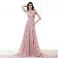 Long Evening Dress 2018 Elegant Pink Crystal Appliques Keyhole Back Formal Party Prom Dress Women Gowns robe de soiree