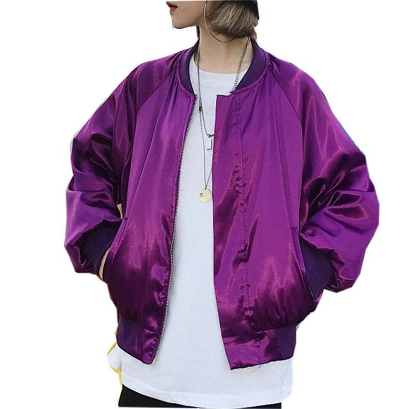 Harajuku Womens Autumn Winter Bomber   Jacket   Ladies Red Baseball Windbreaker   Jackets   Zipper Purple   Basic     Jacket   Coat Outwear