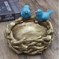 Rustic vintage bird nest crafts, creative storage tray, home desktop decorations, beautiful birds, Christmas birthday gifts