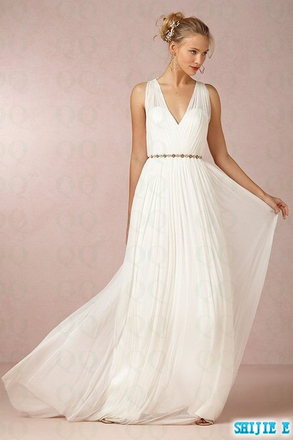 Concise V Neck Chiffon New Style Beach Wedding Dresses Ruched Vestidos De Noiva Garden Gowns