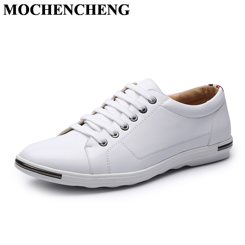 New Men Casual Shoes for Spring Summer Breathable Lace-up Flat White Shoes for Men Sneakers Hard-wearing Anti-skid Leisure Shoes