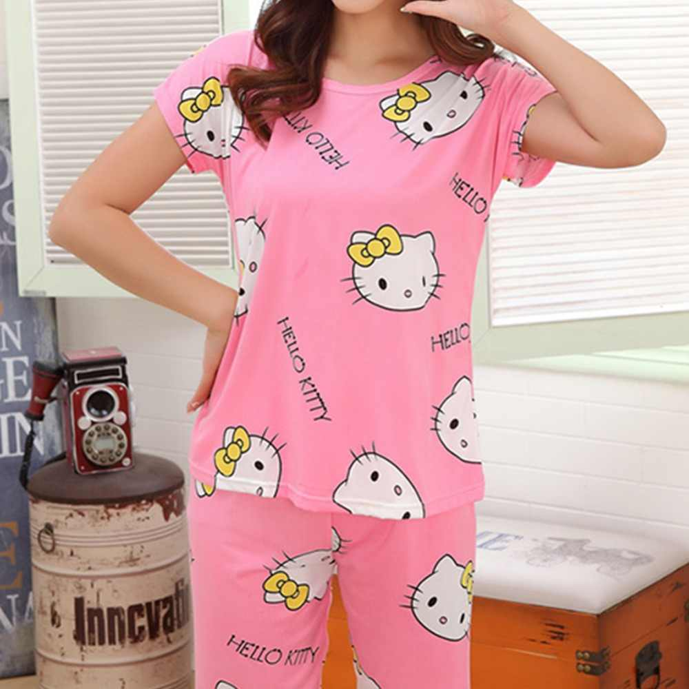 7b157c55e ... New Womens Casual Pajamas Set Cartoon printing Round Neck Short sleeve  Pyjamas Summer lovely Nightwear cozy ...