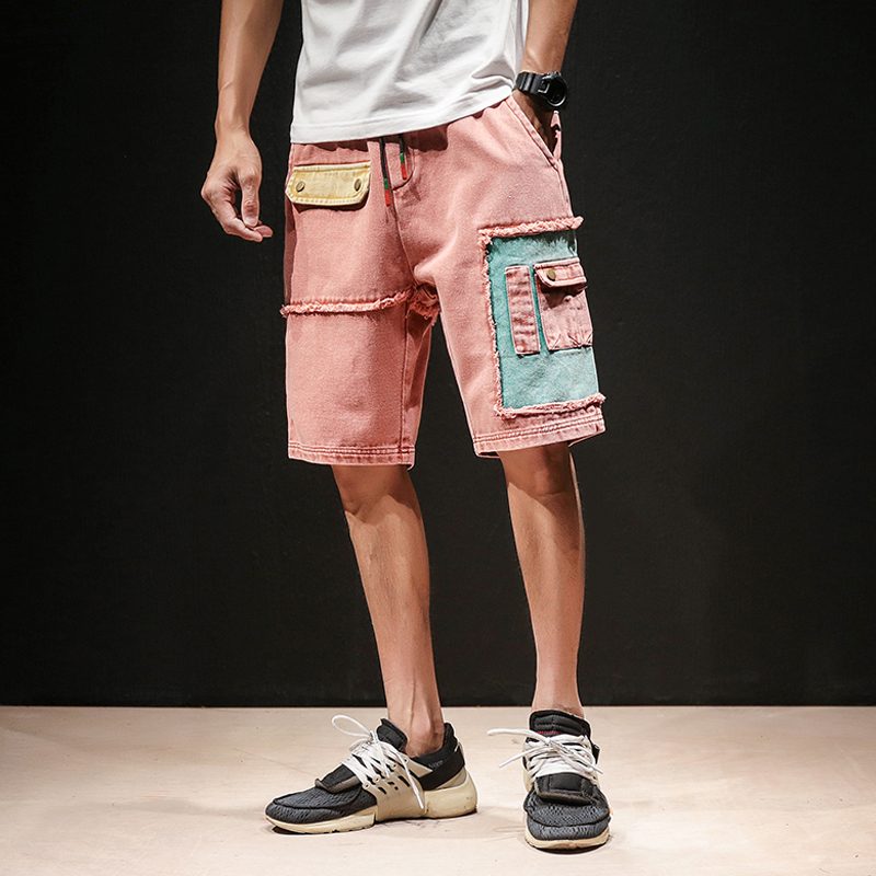 2018 New Designs Men Jeans Pant Patchwork Drawstring Cargo Short Trousers Man Straight Cotton Knee Length Mens Denim Jeans Pants