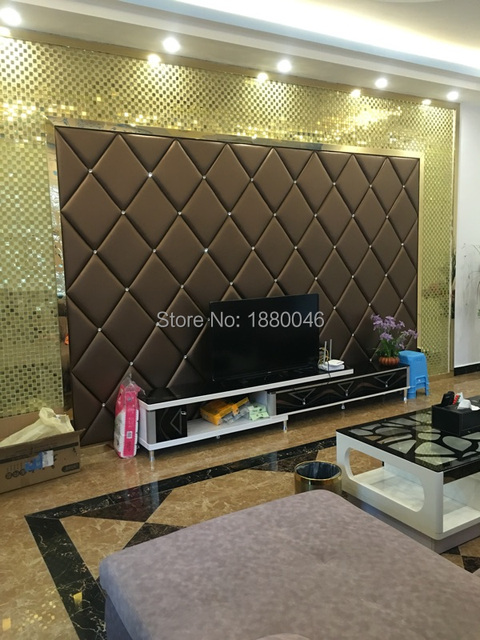 Custom made Luxurious 3D Faux Leather Carved leather panel with Diamond wall sticker Interior wall Decor for sofa TV Room