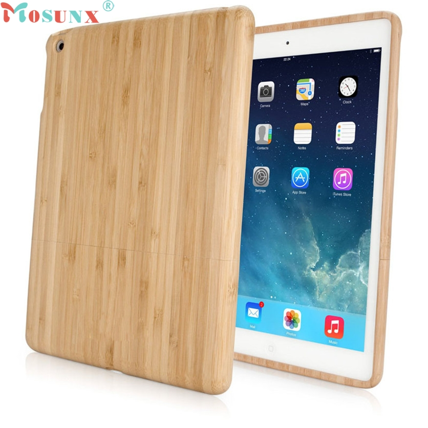 Mosunx SimpleStone Genuine Natural Bamboo Wood Case Cover Skin Protection for iPad Air 5 June01 special genuine natural bamboo wood case cover skin protection for ipad air 5 mar15