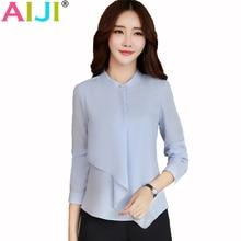 AIJI Summer elegant long sleeve blouses women OL career collar chiffon shirts tops ladies office business plus size work wear
