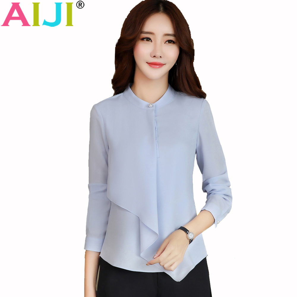 AIJI Summer Elegant Long Sleeve Blouses Women OL Career Collar Chffon Shirts Tops Ladies Office Business