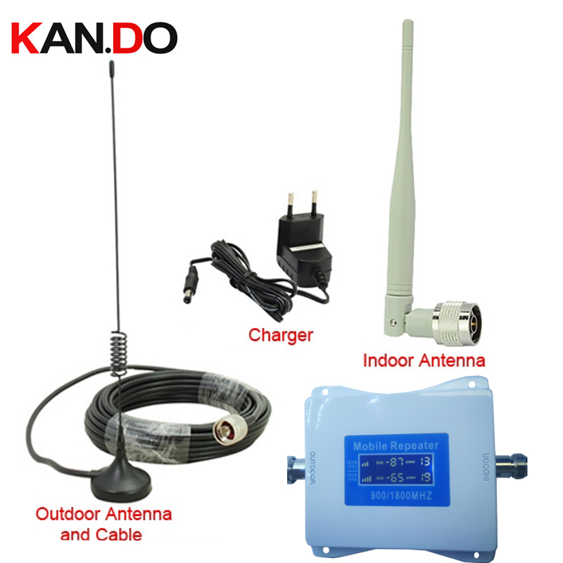 Cheap 2G+4G Repeater With Cable Antenna 22 Dbm 65dbi LCD Display Dual Bands GSM 4g Booster Repeater DCS 900 1800mhz 4g Booster