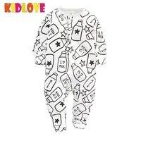 KIDLOVE Autumn Baby Boy Rompers Long Sleeve Overalls Striped Milk Bottle Print Kids Jumpsuit Lovely Newborn