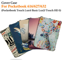 BOZHUORUI Magnetic Cover Case for Pocketbook 616/627/632 eReader Cover Funda For Touch Lux4/Basic Lux2/Touch HD 3 TPU Soft Cover