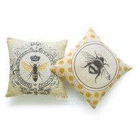 Zestaw 2 Sztuk Użytkowa Rzuć Poduszka Przypadki Nowoczesne Vintage Francuski Queen Bee Żółte Cotton Linen WAGI CIĘŻKIEJ TKANINY Poduszki obejmuje