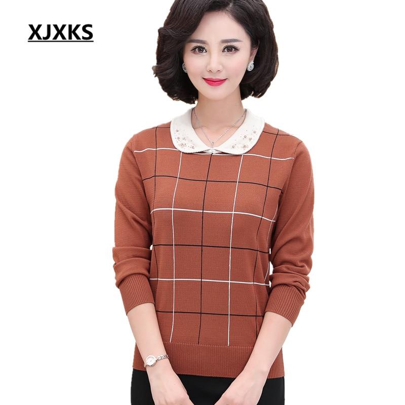 XJXKS Loose plus size fashion beaded lapel women s sweater 2019 spring new cashmere comfortable knitting