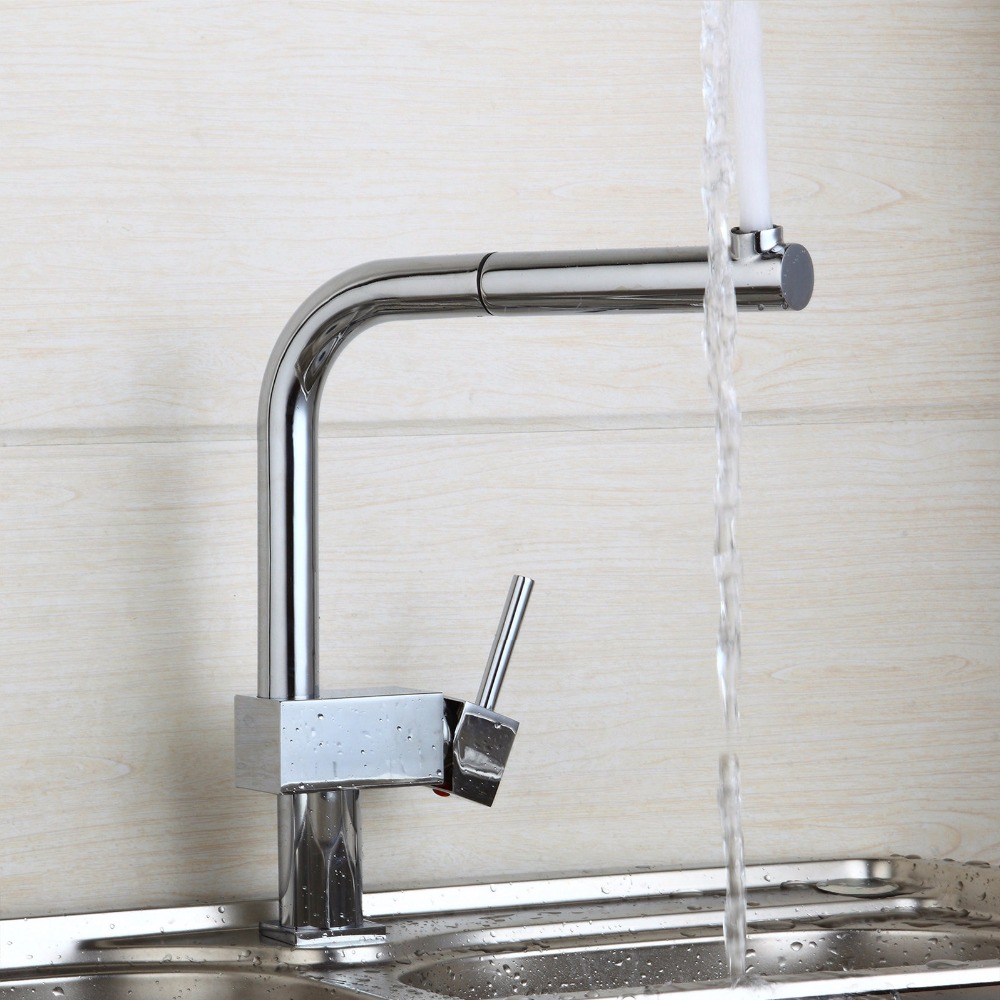 Kitchen 360 Swivel Tap Stream Pull Out Spout Kitchen Sink Faucet ...