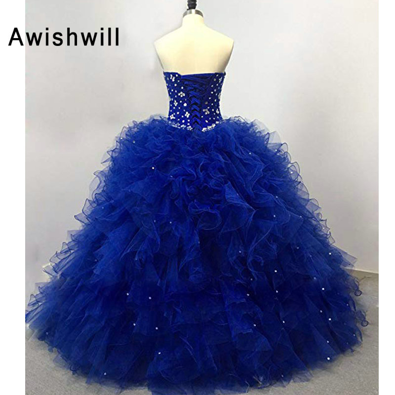 4cf2068346f Real Pictures Sweet 16 Dresses in Royal Blue Debutante Gowns Sweetheart  Beaded Ruffles Organza Quinceanera Dresses Ball Gown -in Quinceanera Dresses  from ...