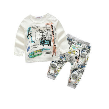 baby boy clothes and girl clothes Elephant printed t-shirt+ striped pants baby boy clothing set newborns clothes 1
