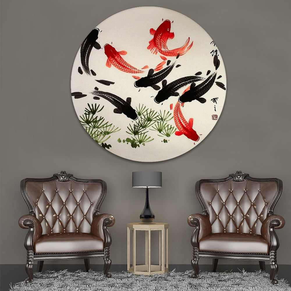 1 Piece Circular Style Japanese Art Koi Fish Canvas Painting Modern Home Decorative HD Print Type Picture For Living Room Wall