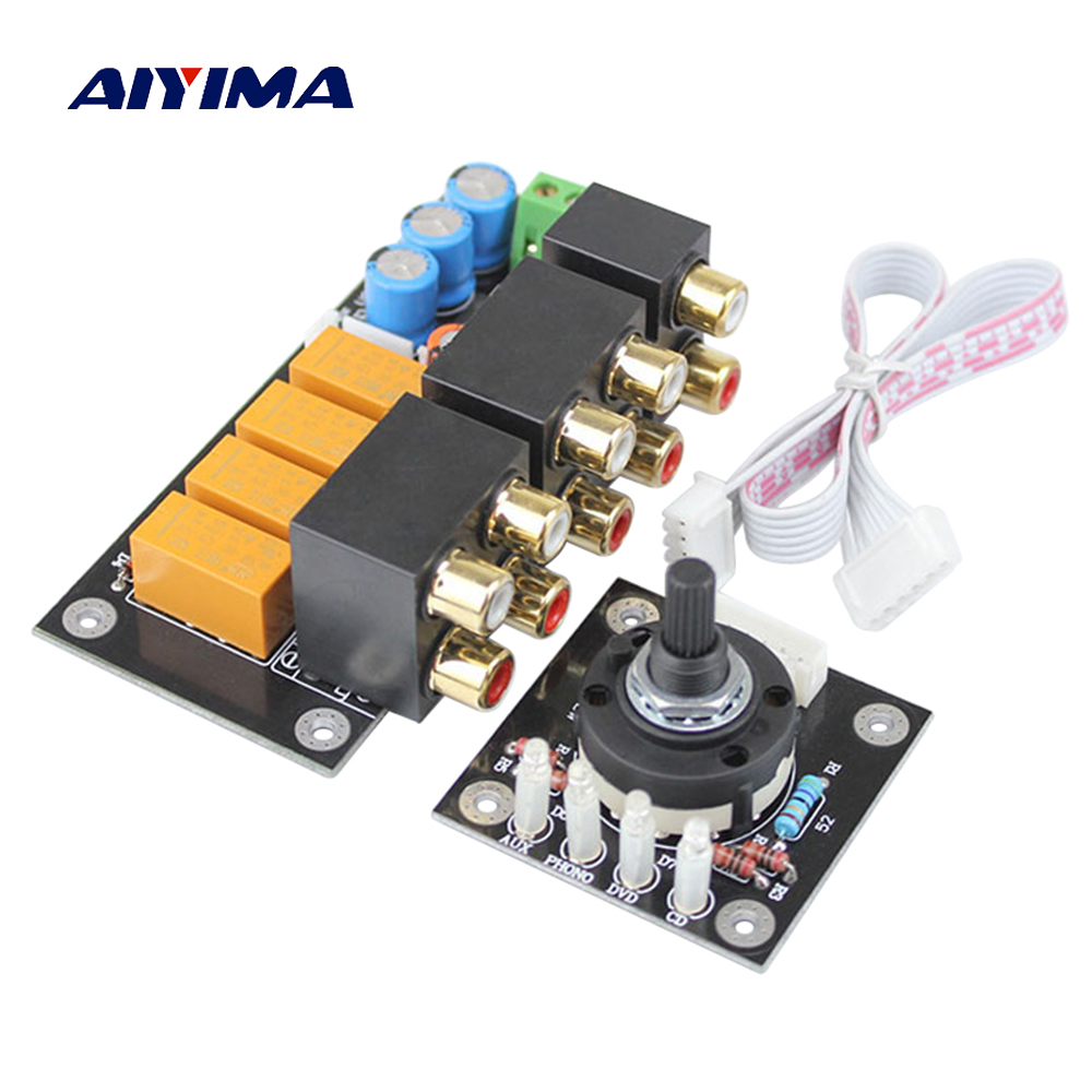 Aiyima RCA Audio Switch Input Selection Board Lotus Seat Stereo Relay 4-way Audio Input Signal Selector Switching Amplifier DIY band switching signal switch 3 knives 4 files
