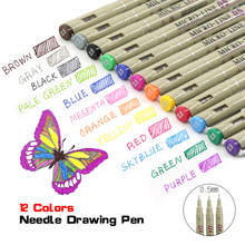 12 Colour 0.5mm needle Micron Fine liner Sketch Art Markers Pen Manga Anime Set