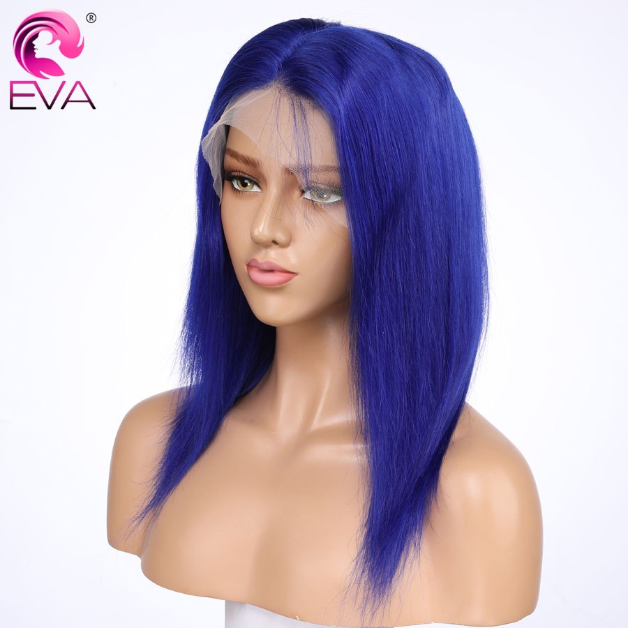 Eva Blue Straight Lace Front Human Hair Wigs Pre Plucked With Baby Hair Brazilian Remy Hair Colored Lace Front Wig Bleached Knot