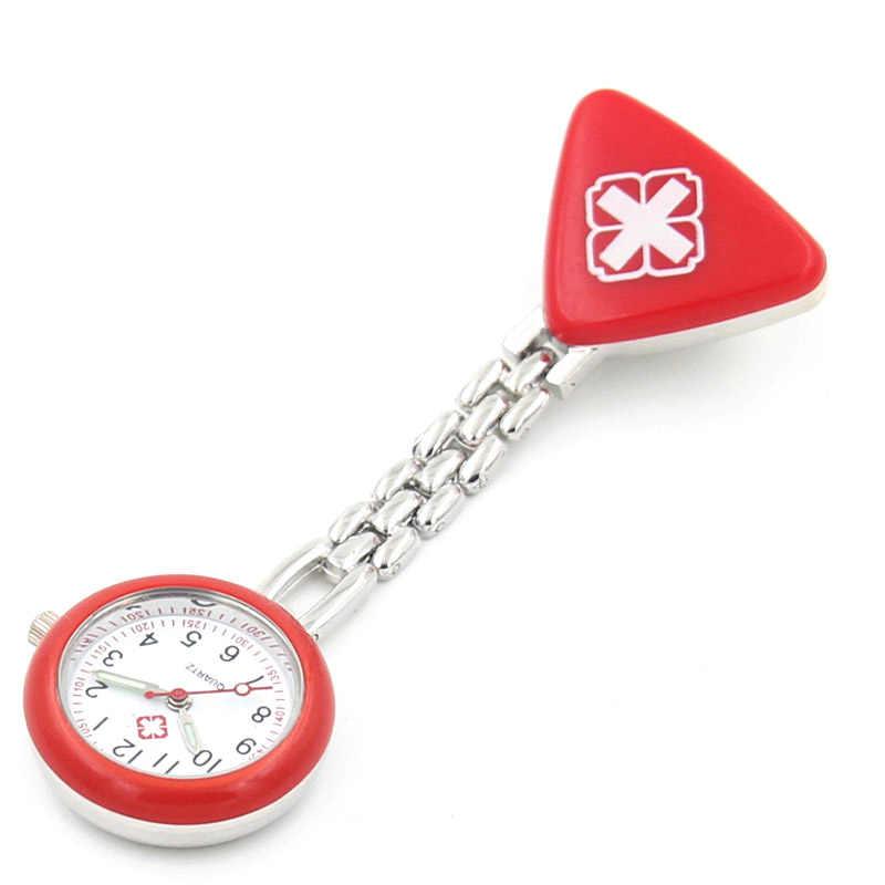 DIY Protable Perawat Jam Tangan dengan Klip Merah Cross Bros Liontin Saku Menggantung Dokter Perawat Medis Kuarsa Watch GDD99