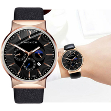 ECONOMICXI New Brand Men Watch Quartz Casual Design Business Male Clock Leather Strap WristWatch Fashion Gift Relogio Masculino