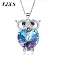 F.I.N.S Cute Chic 3 Colors Austrian Crystal Owl Engagement Necklaces & Pendants 925 Sterling Silver Fashion Women Accessories