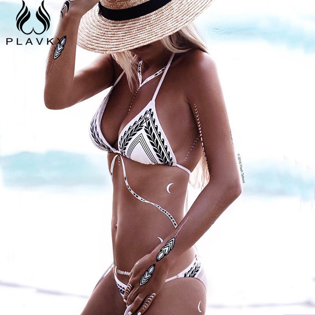 a80d1b23253ef Sexy Arrow Wheat Striped Plavky Strappy Biquini Bathing Suit Female Plus  Size Swimwear Brazilian Micro Bikini Women Swimsuit