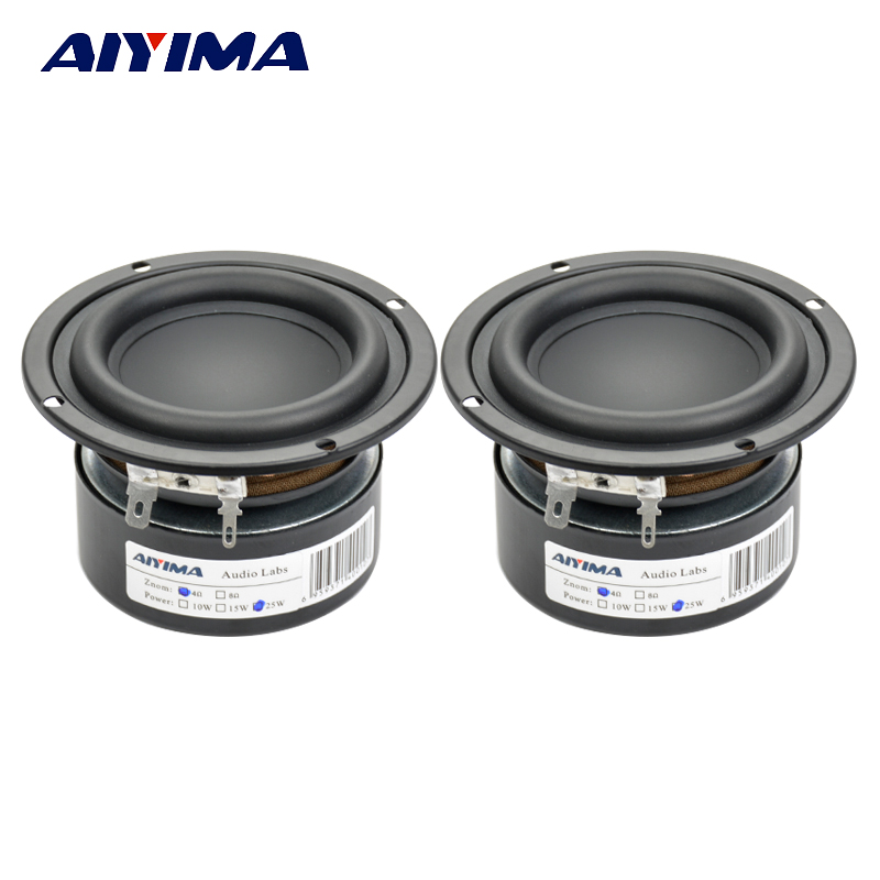 Aiyima 2PCS Tweeter Audio Speaker Portable Mini Stereo Speakers Woofer Full Range Loudspeaker Horn 3 inch 4 Ohm 8 Ohm 25W lonpoo bookshelf speaker pair 4 inch carbon fiber woofer and silk dome tweeter passive 2 way 75w 2 classic wooden loudspeaker