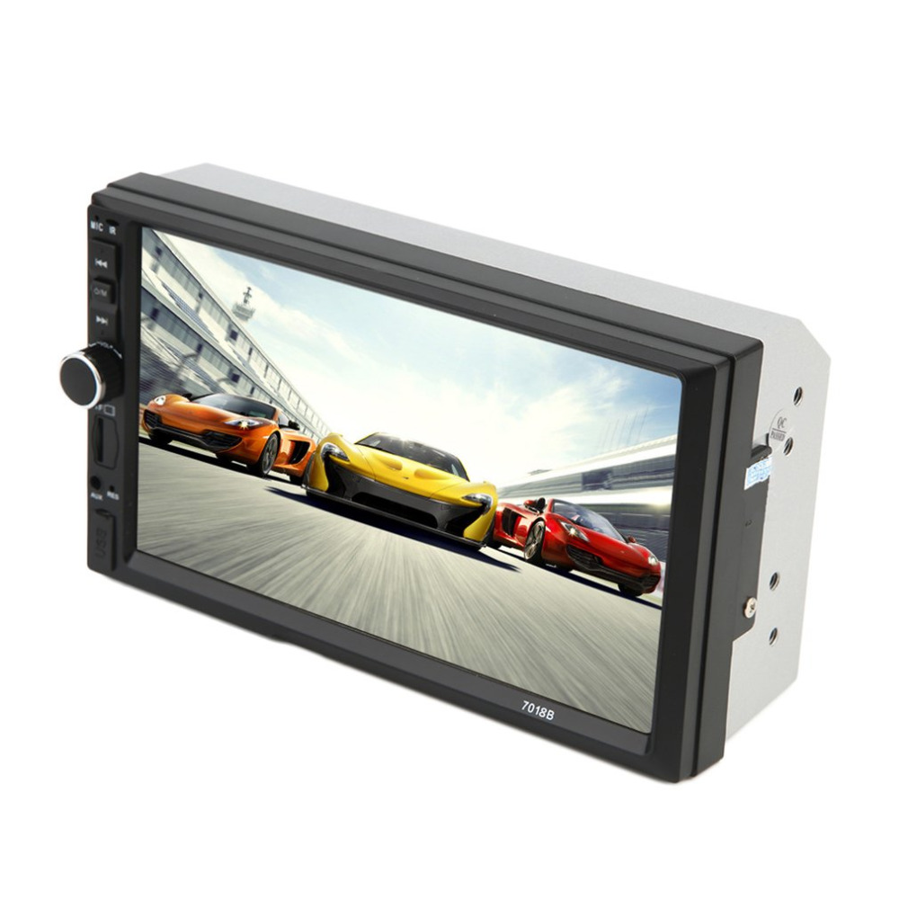 High Quality Car Vehicle 7 Inch Screen  Bluetooth DVD Player TF Card Doule Din  Auto Multimedia Player Audio Player Black+Camera