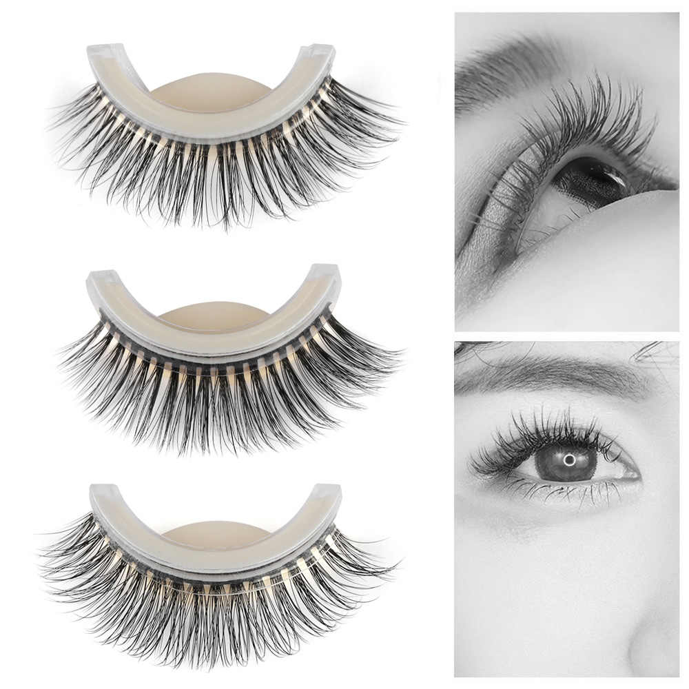 e48a47d2adc 3D False Eyelash Extension Reusable Natural Curly Fake Eyelashes Self  Adhesive Mink Hair No Glue Eye