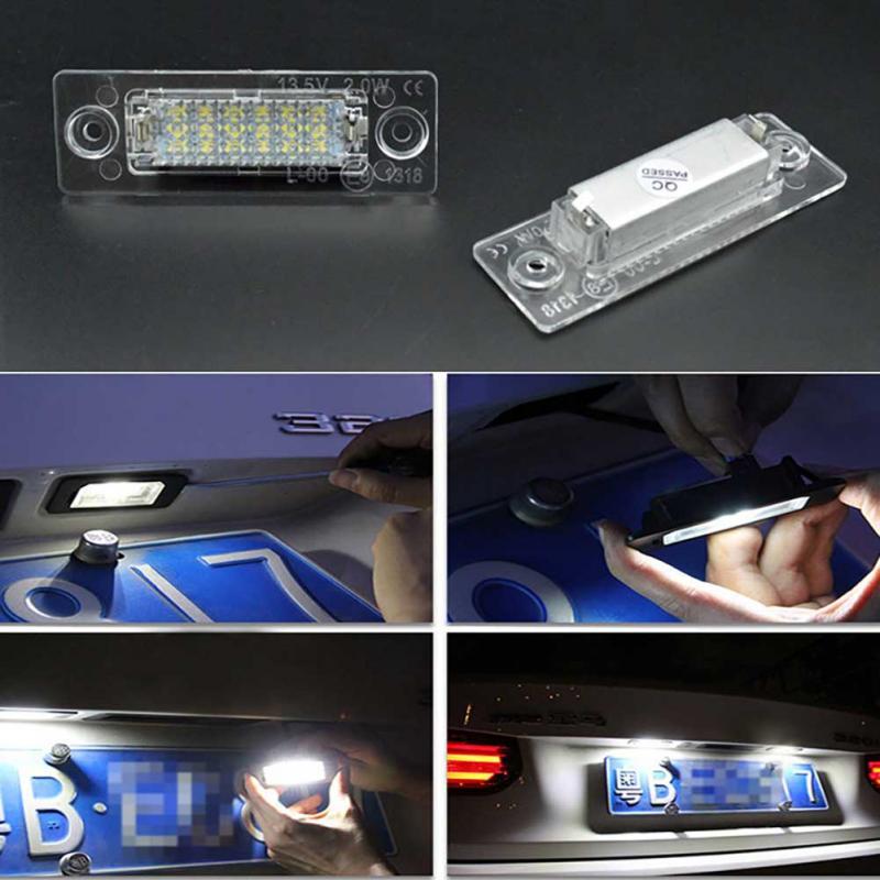 2Pcs 18LED Cars LED License Plate Lights Lamp High Lumen For VW Volkswagen Transporter T5 Caddy Touran Golf Passat