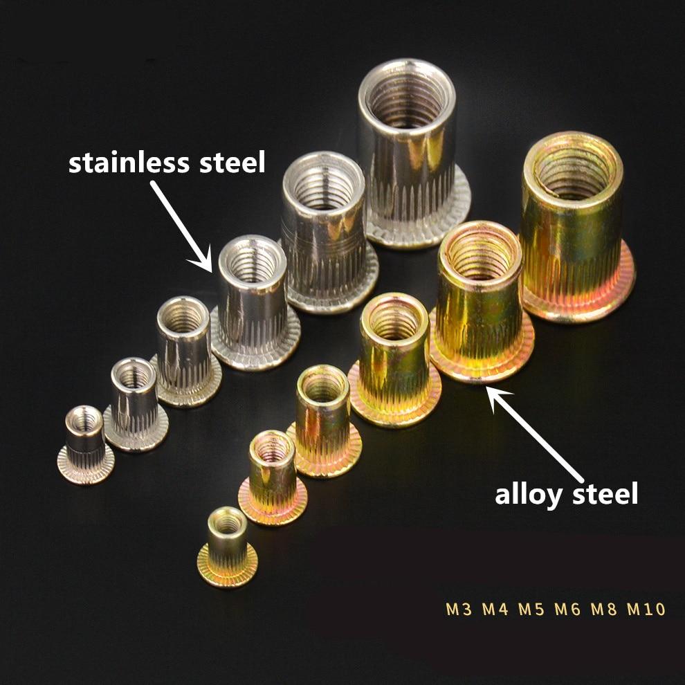20Pcs M3 M4 M5 M6 M8 M10 Alloy Steel / Stainless Steel Flat Head Rivet Nuts Rivet Insert Nutsert Cap