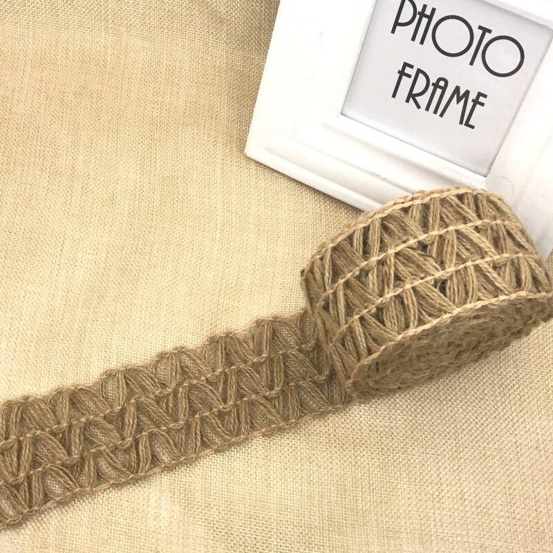 Natural Jute Burlap Fabric Rustic Hessian Ribbon Tape Wedding Decoration DIY