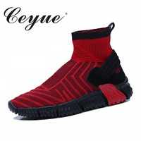 Outdoors High Top Running Trainers For Men Slip On Sock Shoes Footwear Comfor Walking Sport Athletic Breathable Mesh Sneakers
