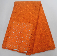 Popular High Quality Orange Swiss Voile Laces Switzerland Cotton African Dry Cotton Lace Fabric Nigerian Man Voile Lace Fabric
