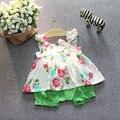 2016 ropa de verano nueva niña flor del set vest + pant 2 unids de niño que arropan conjunto infantil recién nacido trajes de bebé