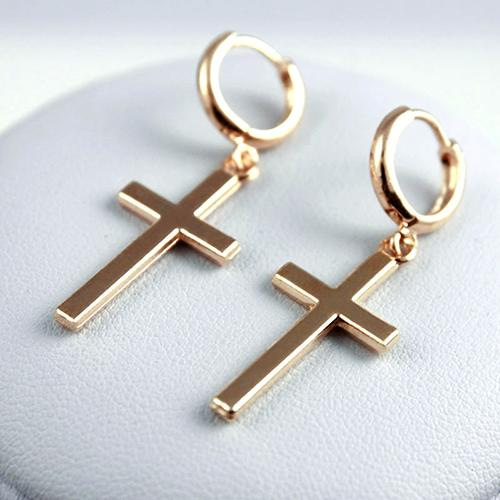 Women Fashion Punk Cross Pendant Cartilage Drop Dangle Earrings Jewelry