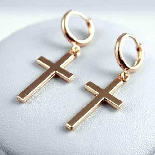 Pria Fashion Punk Cross Liontin Tulang Rawan DROP Menjuntai Anting-Anting Perhiasan