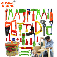 Global Drone Pretend Play Classic Gardening Tool Toy Repair Tools Toy Set 32-project Plastic Instruments Toy Kit Tools for Kids