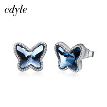 Cdyle S925 Sterling Silver Blue Crystals from Swarovski Butterfly Earrings Luxury Fashion Jewelry Valentine's Day Birthday Gifts(China)